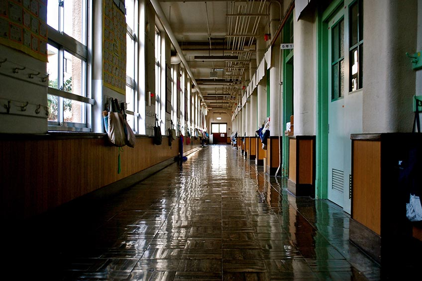 High school with a school safety plan that includes 3M security window film.