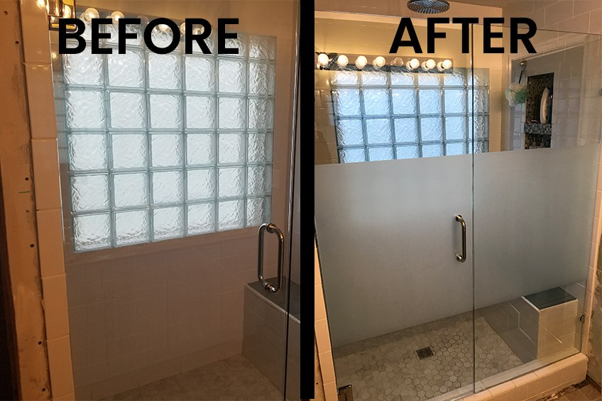 before and after photo of frosted shower enclosure