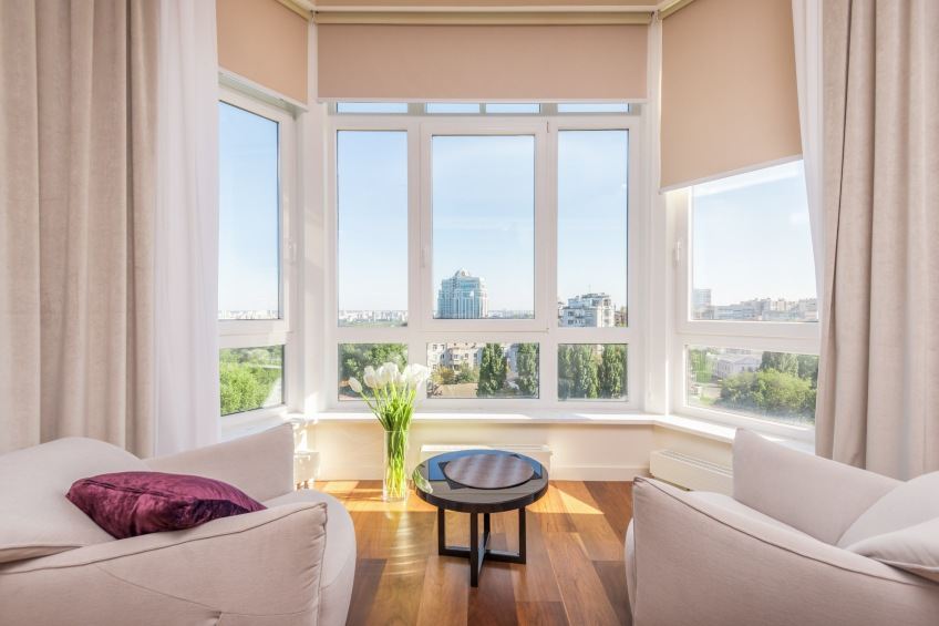 large windows in home with sun coming through